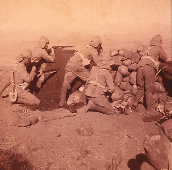 British troops manning a sangar in South Africa